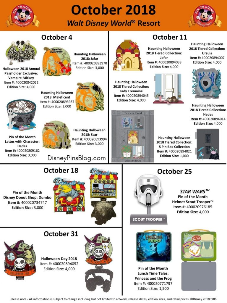 Walt Disney World October 2018 Pin Preview