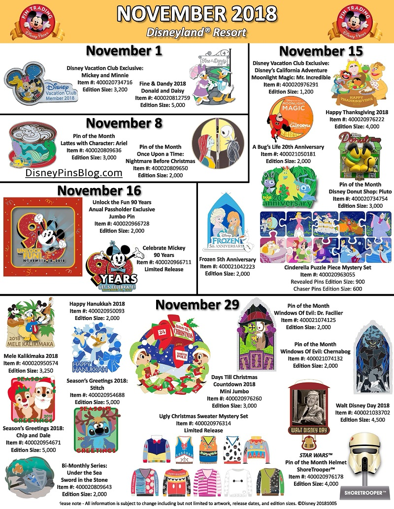 Disneyland November 2018 Pin Preview