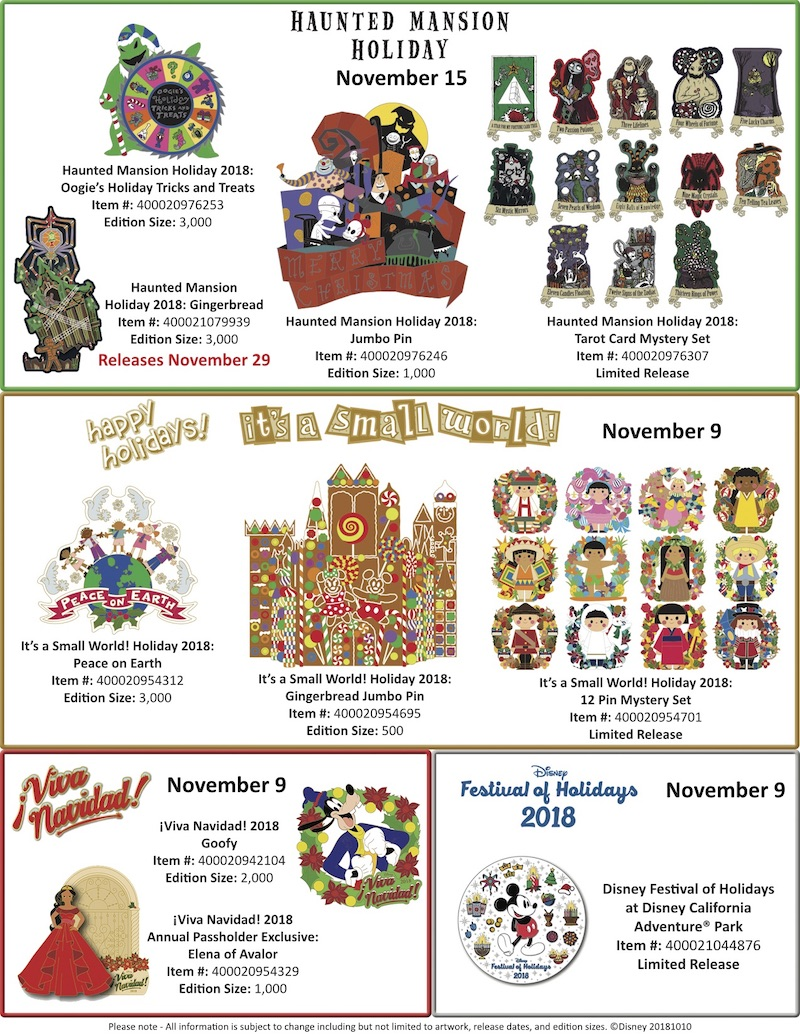 Disneyland Resort Holiday 2018 Pin Releases