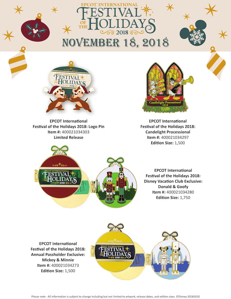 Epcot Festival of the Holidays 2018 Disney Pins