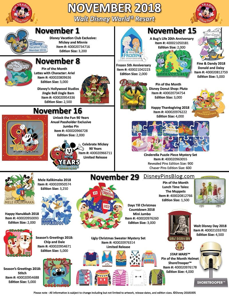 Walt Disney World November 2018 Pin Preview
