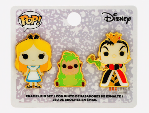 Alice, Queen of Hearts & Hedgehog Funko Pop! Disney BoxLunch Pin Set