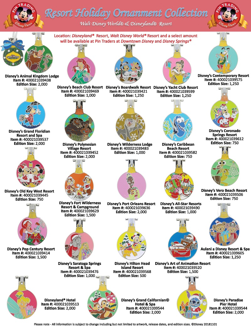 Disney Resort Holiday 2018 Ornament Pin Collection
