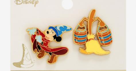 Fantasia Sorcerer Mickey & Broom BoxLunch Disney Pin Set