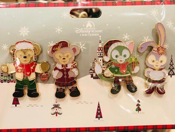 hanghai Disney Duffy and Friends Christmas Pin Set