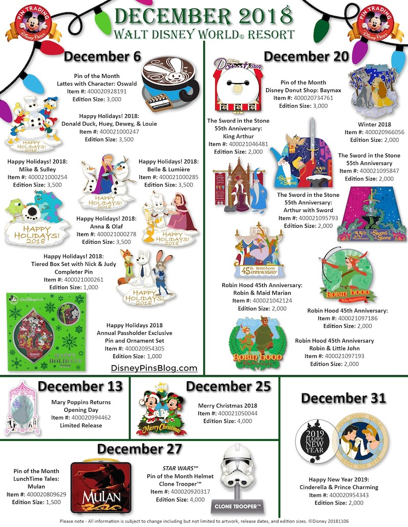 Walt Disney World December 2018 Pin Preview