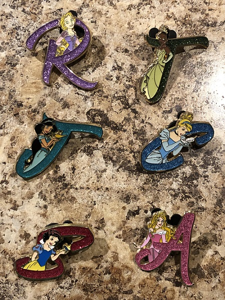 Disney Princess Letter Pins