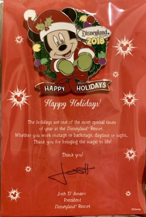 Disneyland 2018 Happy Holidays Cast Member Pin