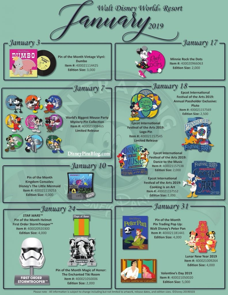 Disney Parks January 2019 Pin Preview - Disney Pins Blog