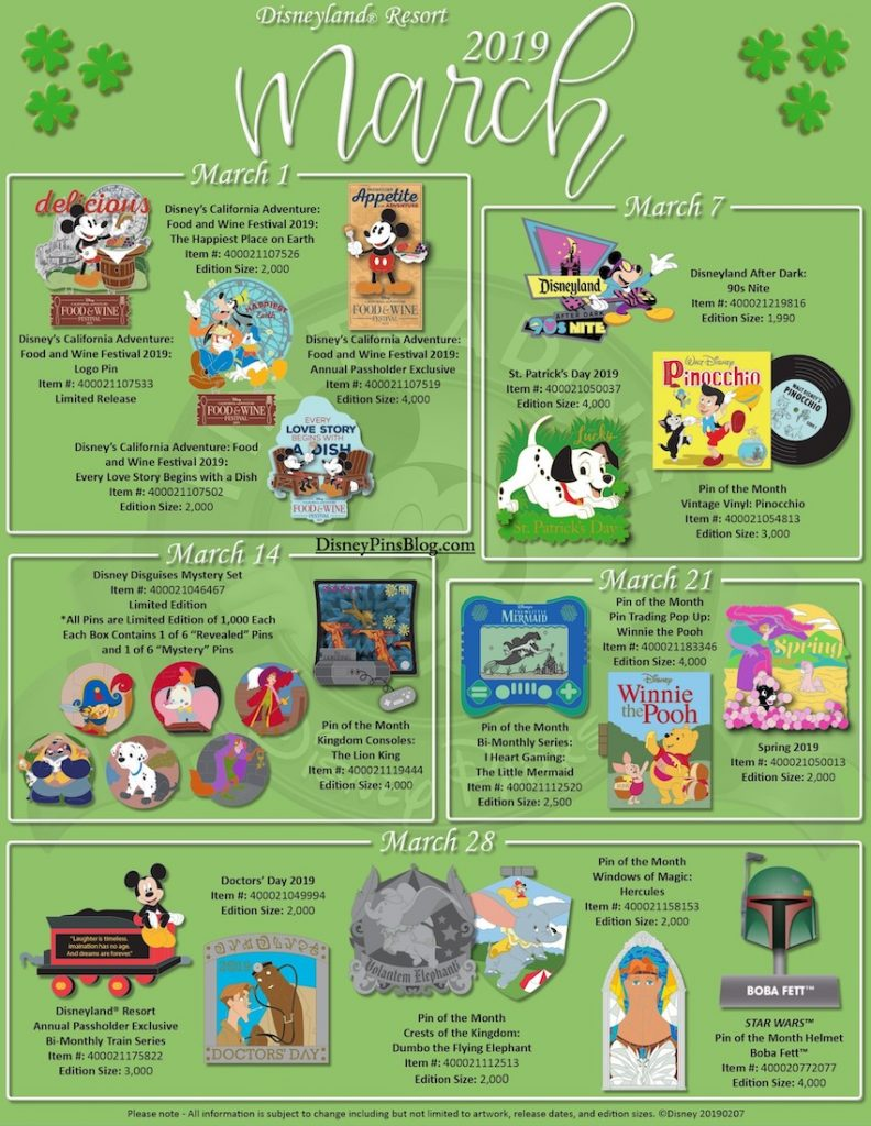 Disneyland March 2019 Pin Preview