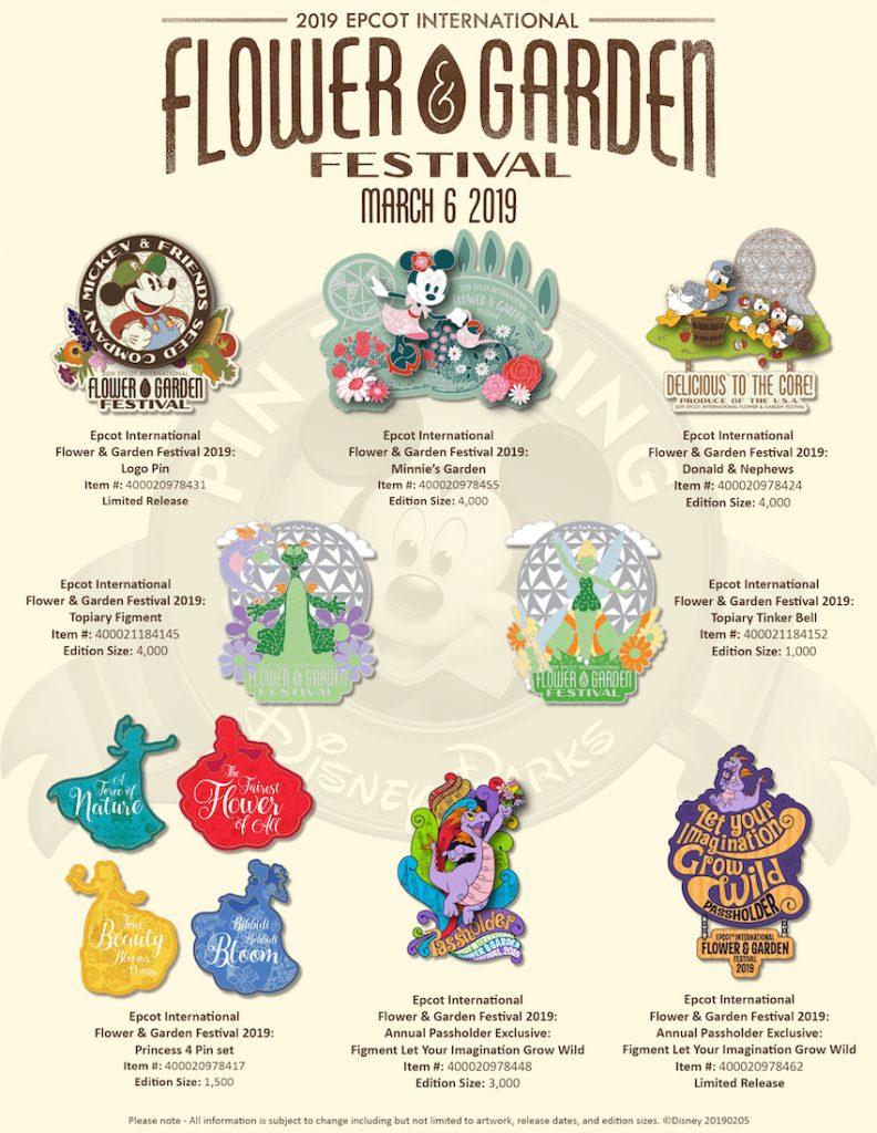 Epcot International Flower & Garden Festival 2019 Disney Pins