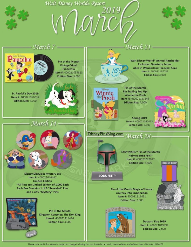 Walt Disney World March 2019 Pin Preview