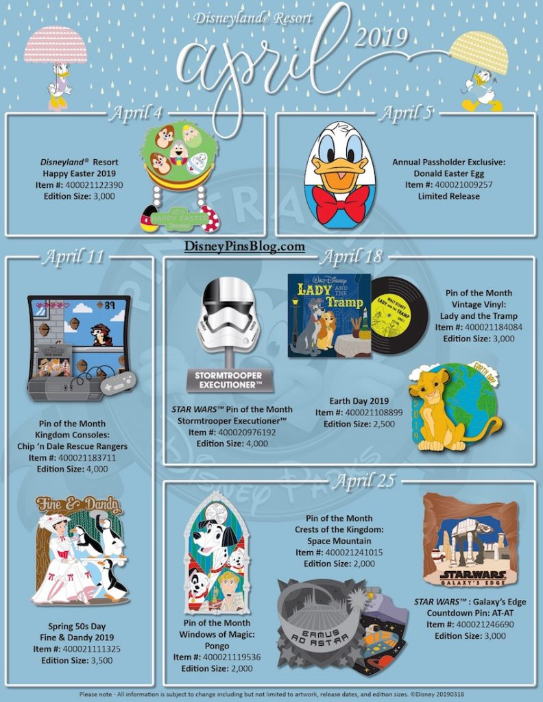 Disneyland April 2019 Pin Preview