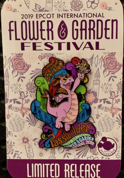 Figment Passholder LR Pin - Epcot Flower & Garden 2019