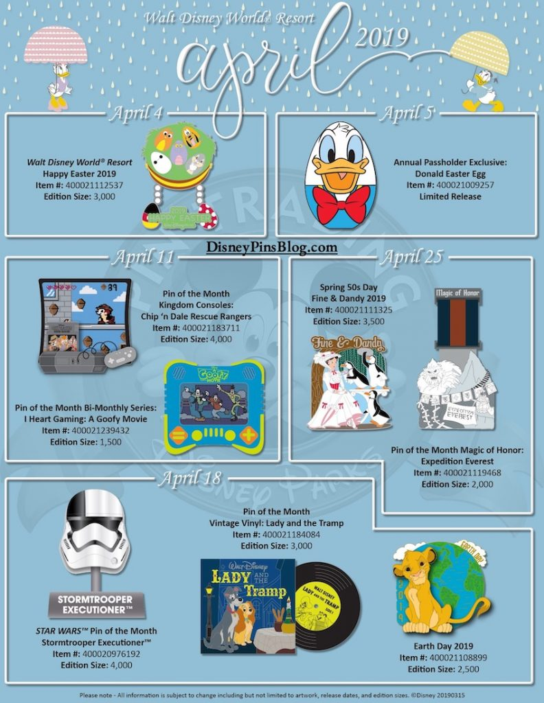 Walt Disney World April 2019 Pin Preview