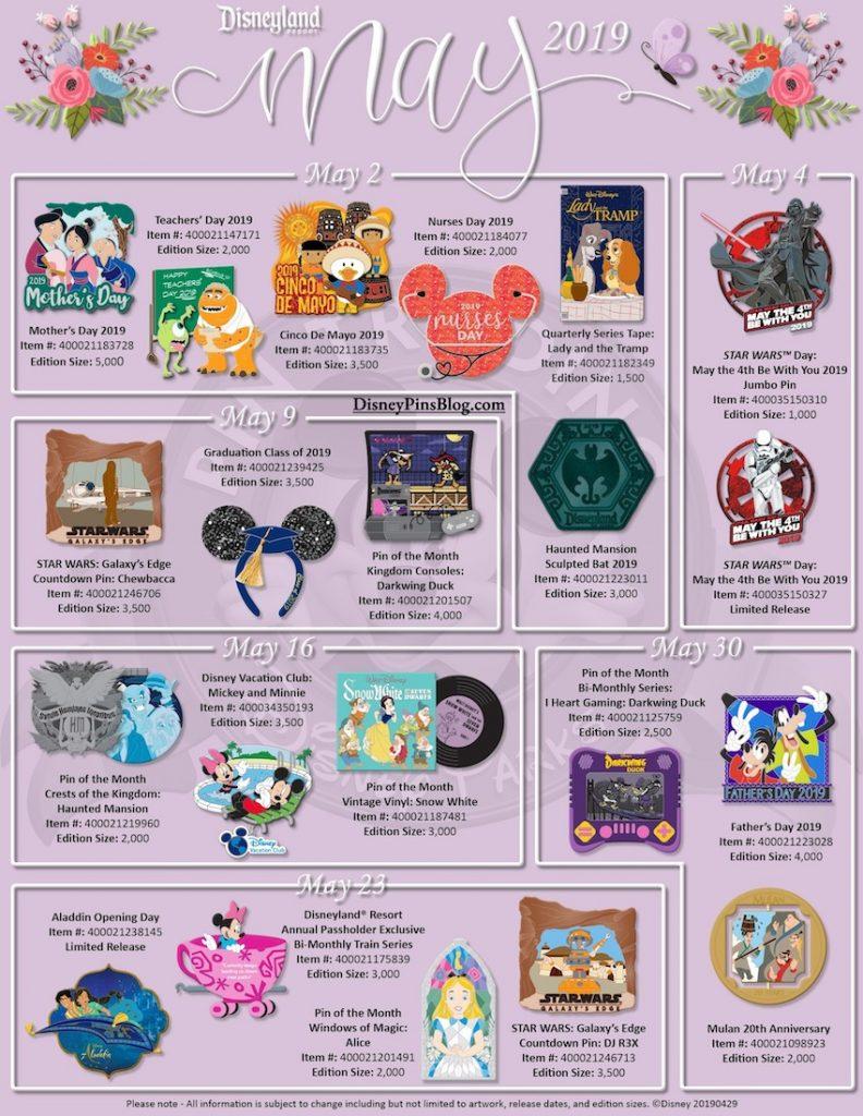 Disneyland May 2019 Pin Preview - revised