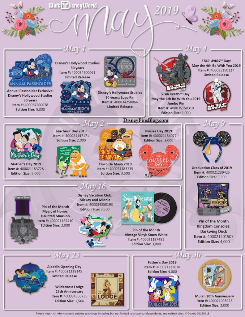 Walt Disney World May 2019 Pin Preview