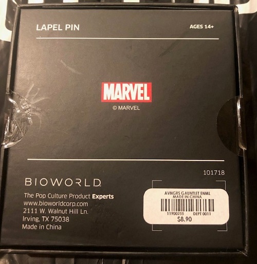 Back of Infinity Gauntlet Hot Topic Pin