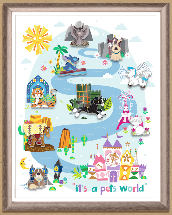 It's a Pets World Framed Disney Pin Set