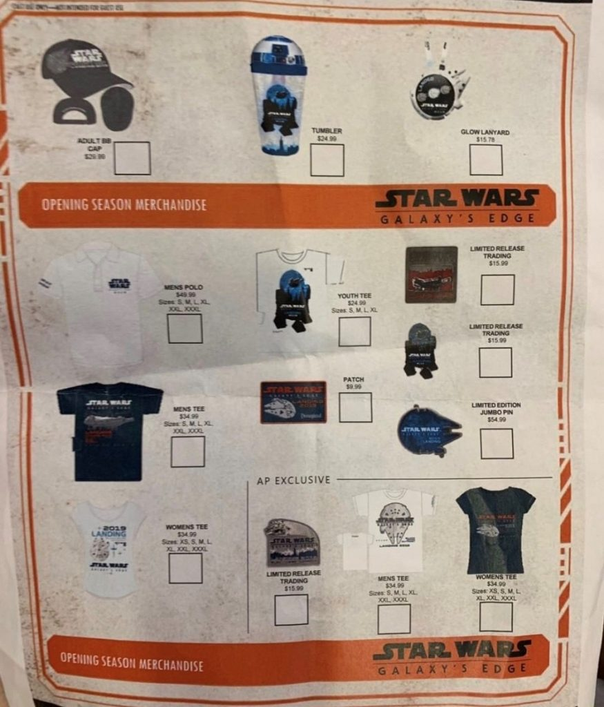 Opening Season Merchandise - Star Wars Galaxy's Edge