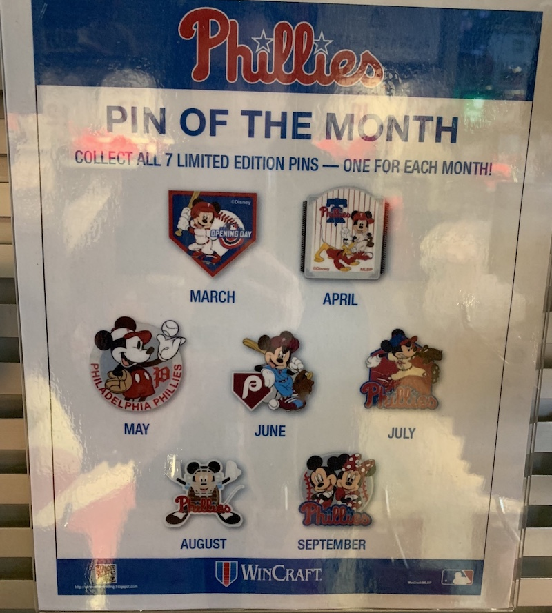 Phillies 2019 Disney Pin Of The Month