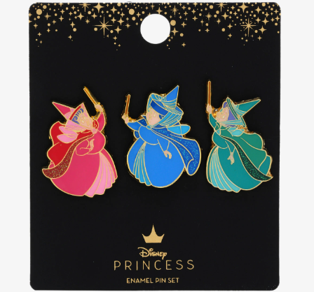 Sleeping Beauty Fairy Godmothers  BoxLunch Disney Pin Set