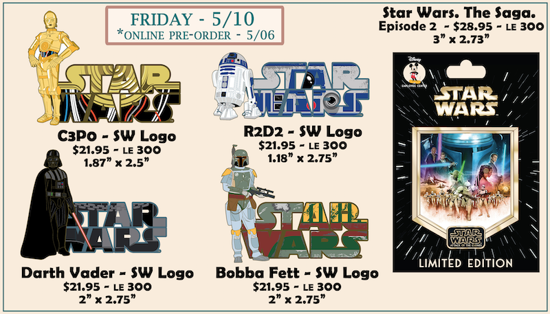 Star Wars Character Logos & Episode 2 Disney Employee Center Pins