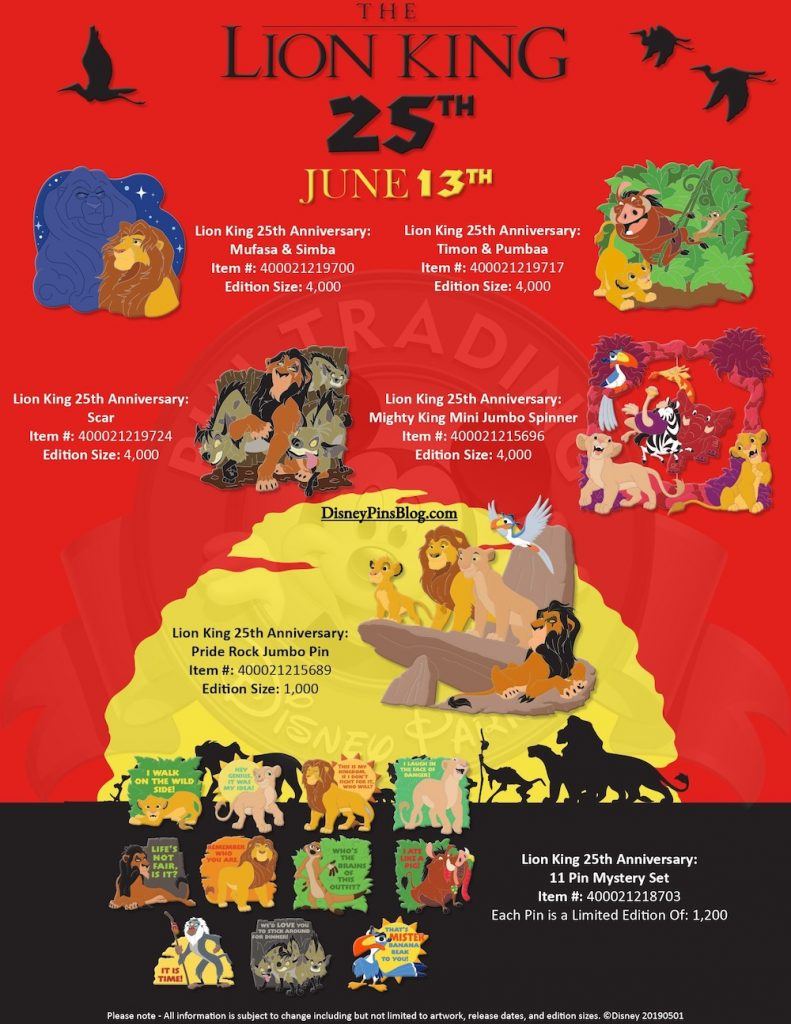 The Lion King 25th Anniversary Disney Pins