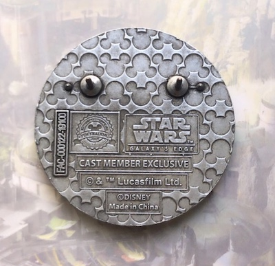 Back of Grand Opening 2019 Star Wars Galaxy's Edge Cast Pin