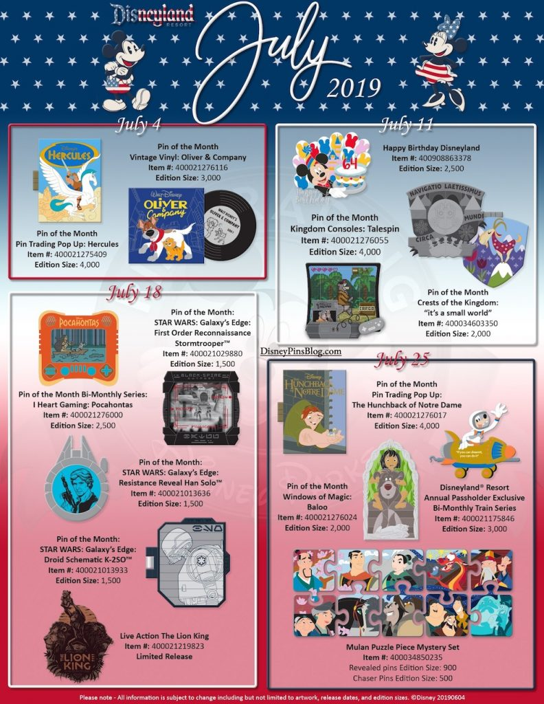 Disney Parks July 2019 Pin Preview - Disney Pins Blog