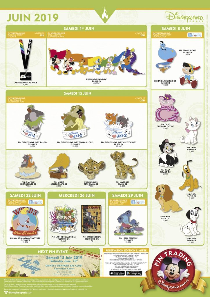 Disneyland Paris June 2019 Pins