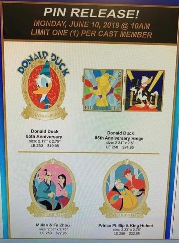 Donald Duck 85th and Father's Day 2019 WDI Pin Release