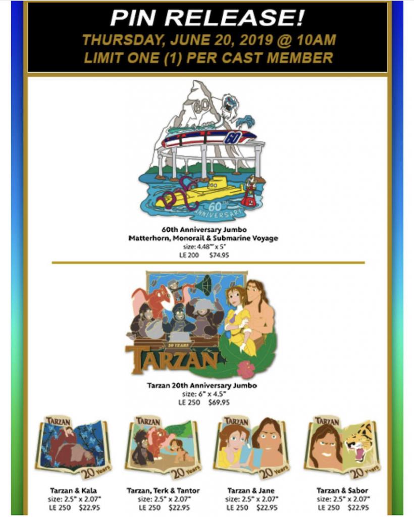 Matterhorn 60th and Tarzan 20th Anniversary WDI Pin Release