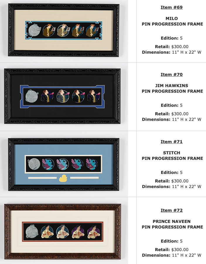 Milo, Jim Hawkins, Stitch, Prince Naveen Progression WDI Pin Sets – D23 Expo 2019