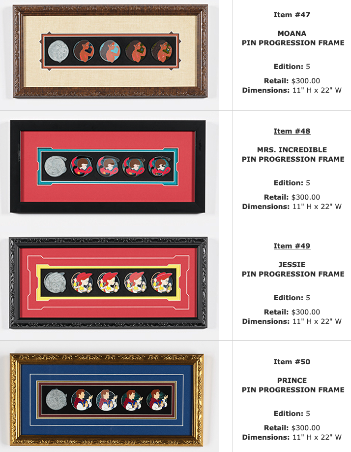 Moana, Mrs. Incredible, Jessie, Prince Progression WDI Pin Sets – D23 Expo 2019