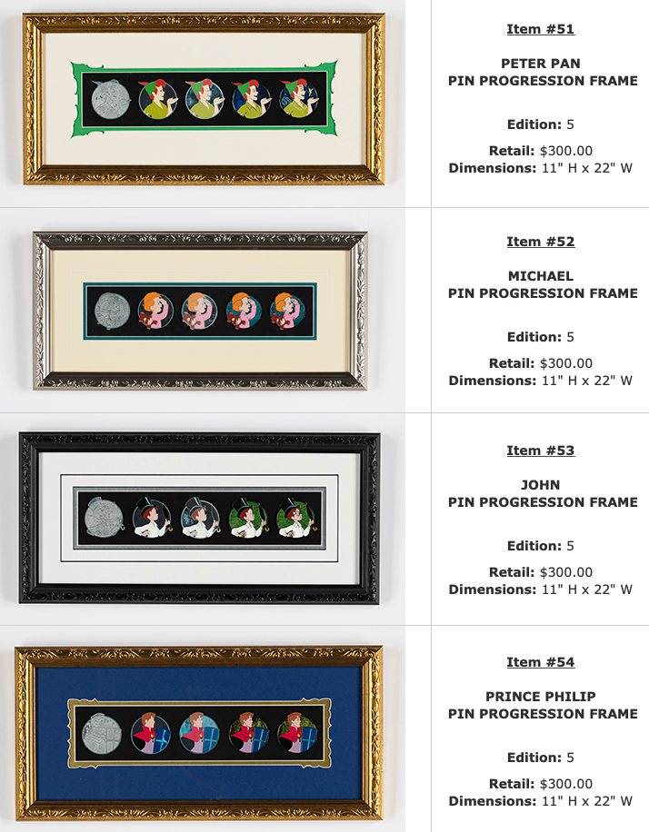 Peter Pan, Michael, John, Prince Philip Progression WDI Pin Sets – D23 Expo 2019