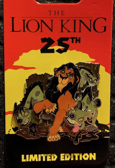 Scar Lion King 25th Anniversary Pin