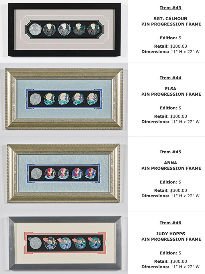 Sgt. Calhoun, Elsa, Anna, Judy Hopps Progression WDI Pin Sets – D23 Expo 2019