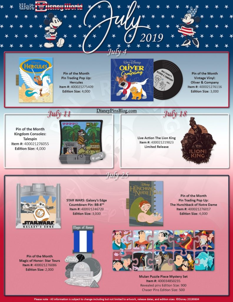 Walt Disney World July 2019 Pin Preview