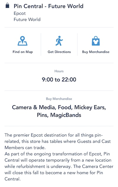 Pin Central WDW App