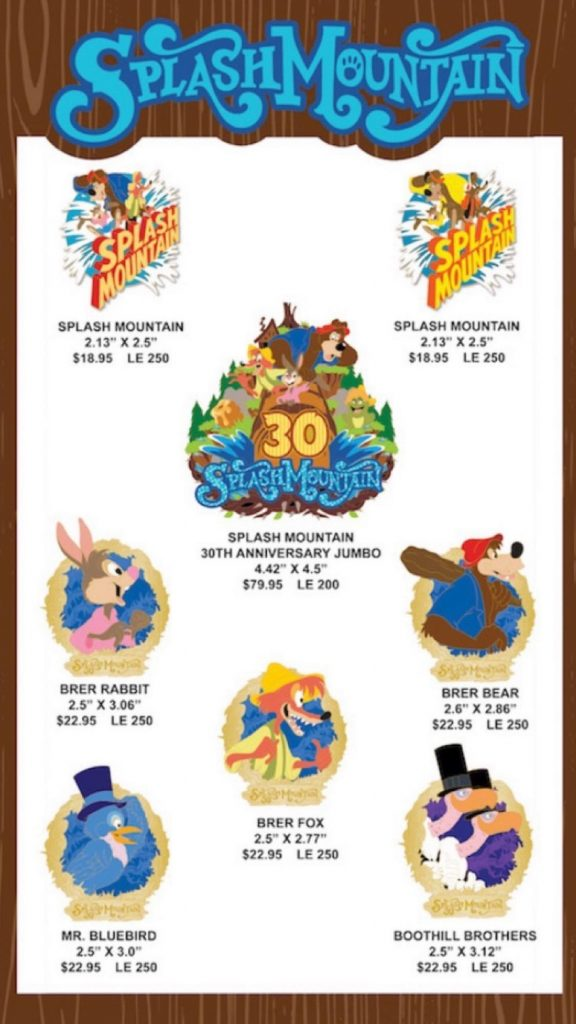 Splash Mountain 30th Anniversary WDI Pins