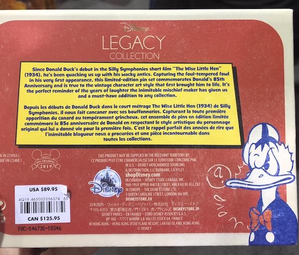 Back of Donald Duck 85th Anniversary Disney Store Pin Set