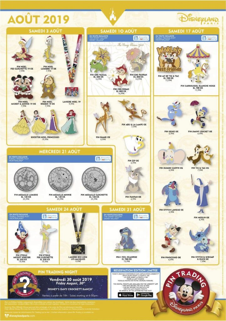 Disneyland Paris August 2019 Pins