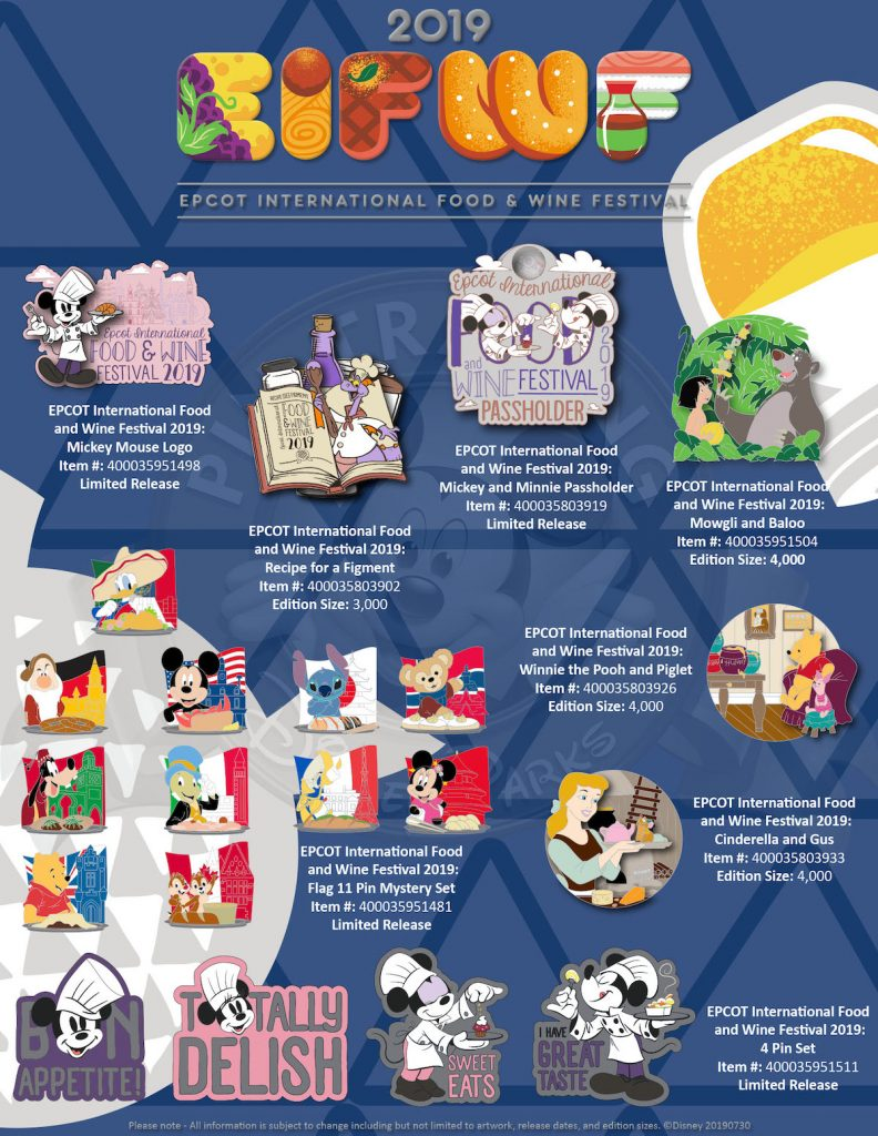 Epcot International Food & Wine Festival 2019 Disney Pins