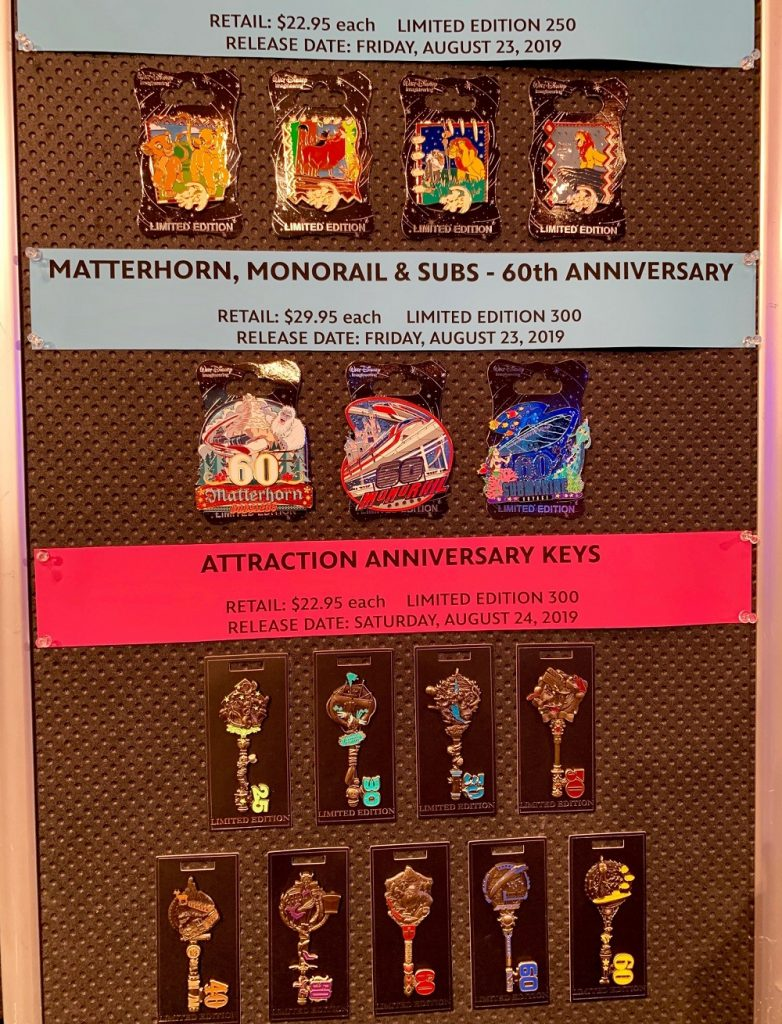Lion King, Matterhorn, Anniversary Keys WDI Pin Collection