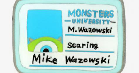 Monsters University Mike Wazowski ID Card Disney Pin