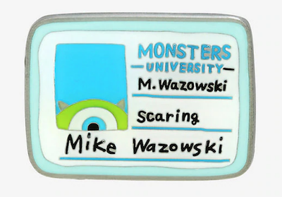 Monsters University Mike Wazowski ID Card Disney Pin
