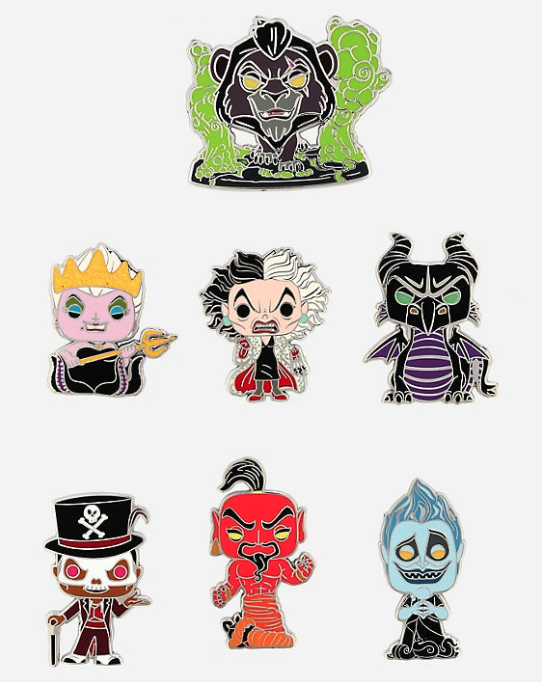 Funko Pop! Disney Villains BoxLunch Mystery Pin Collection
