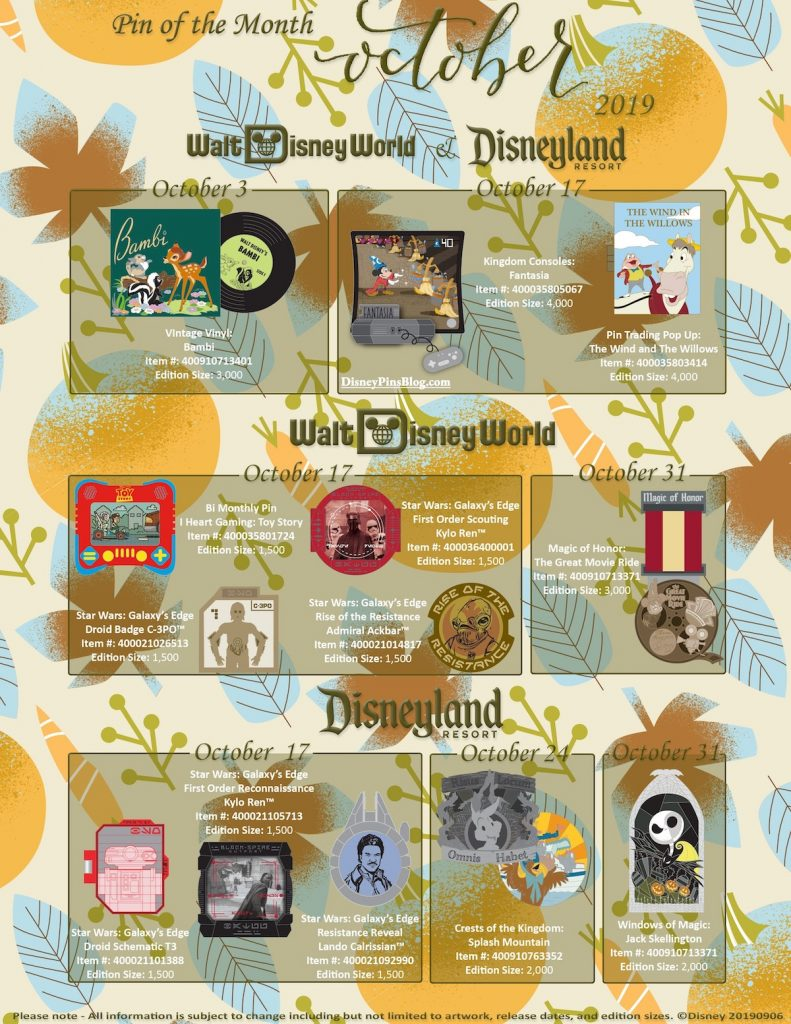October 2019 Disney Pin of the Month