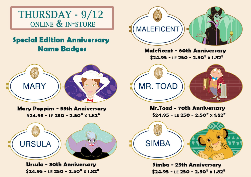 Special Edition Anniversary Name Badges Disney Employee Center Pins